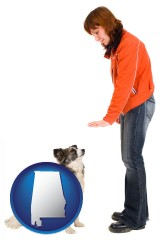 alabama map icon and a woman training a pet dog