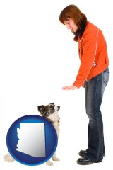 arizona map icon and a woman training a pet dog