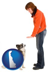 delaware map icon and a woman training a pet dog