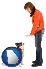 georgia map icon and a woman training a pet dog