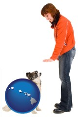 hawaii map icon and a woman training a pet dog