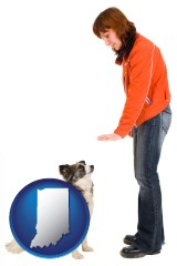 indiana map icon and a woman training a pet dog