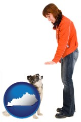 kentucky map icon and a woman training a pet dog