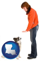 louisiana map icon and a woman training a pet dog