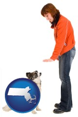 massachusetts map icon and a woman training a pet dog