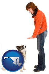 maryland map icon and a woman training a pet dog