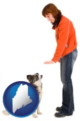 maine map icon and a woman training a pet dog