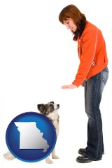 missouri map icon and a woman training a pet dog
