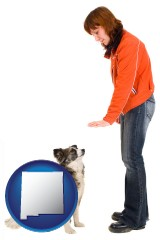 new-mexico map icon and a woman training a pet dog