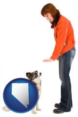 nevada map icon and a woman training a pet dog