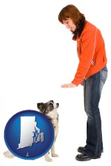 rhode-island map icon and a woman training a pet dog