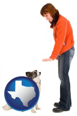 texas map icon and a woman training a pet dog