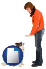 utah map icon and a woman training a pet dog