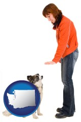 washington map icon and a woman training a pet dog