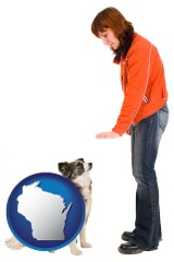 wisconsin map icon and a woman training a pet dog