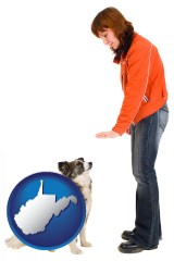 west-virginia map icon and a woman training a pet dog